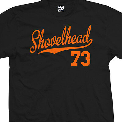 Shovelhead 73 Script Tail T-Shirt - 1973 Motorcycle Bobber Chopper - All Colors