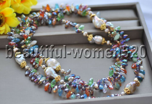 Z9695 56inch  20mm Lavender Baroque Keshi Pearl Multicolor Crystal Necklace