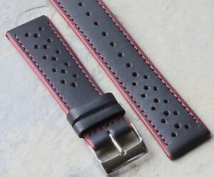 LAST-ONES-Black-red-edges-and-stitching-perforated-22mm-rally-watch-band-37-sold