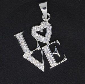 Damen-Anhaenger-Love-mit-Herz-925-Sterling-Silber-weisse-Zirkonia-Silberanhaenger