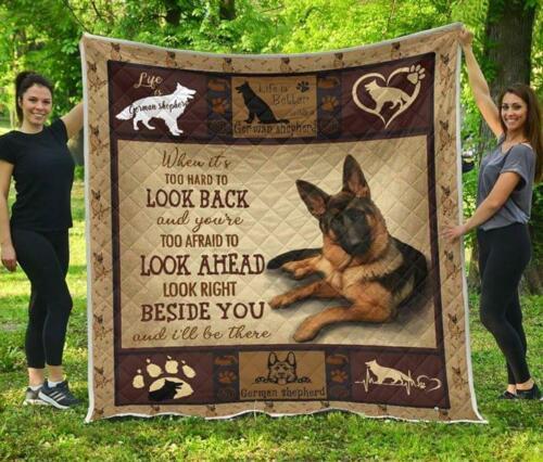 German Shepherd When It/'s Too Hard To Look Back Quilt Blanket
