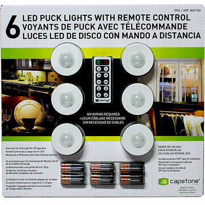 Capstone 6 Wireless LED Puck Lights 18-AAA Bateries- Remote Control Timer Dimmer