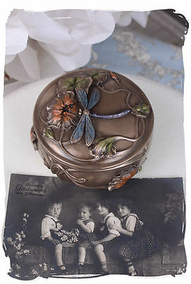 COVER BOX ART NOUVEAU JEWELRY BOX CASKET ANTIQUE WATER LILLIES DRAGONFLIES