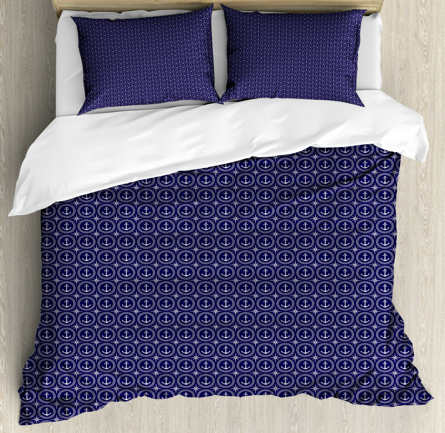 Navy bluee Duvet Cover Set with Pillow Shams Windpink and Rope Print