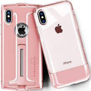 best sneakers 57975 df60c Details about For iPhone X / XS Clear Case Cover and Case Cover with  Kickstand Tempered Glass