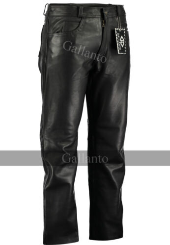 Black Classic Fitted Motorbiker motorcycle Men/'s Leather Pants Trousers soft