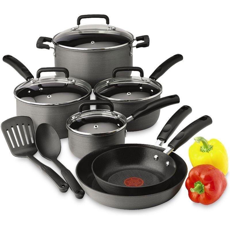 Anodisé Dur Signature 12 Piece Cookware Set, en aluminium antiadhésif saute Fry casseroles