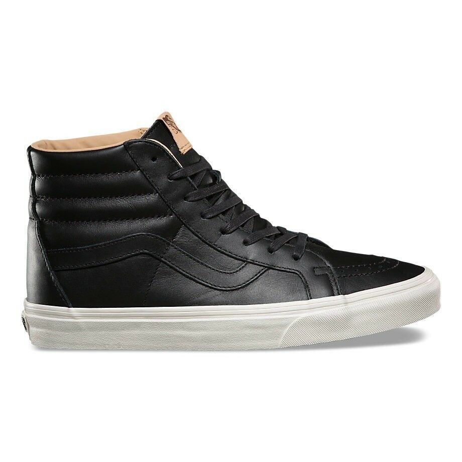 VANS SK8 HI REISSUE LUX LEATHER BLACK PORCINI TRAINERS