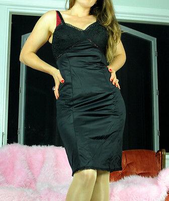 VTG Hot Silky Smooth Yellow Exotic Black French lace Budoir Mini SHINY Lacy Satin 2 Tone Half Sissy Slip Skirt M L
