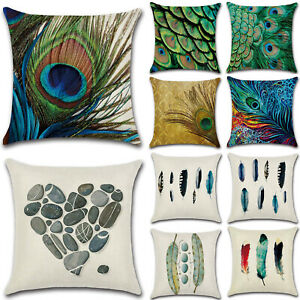 Feather-Peacock-Pillow-Case-Bed-Sofa-Waist-Throw-Cushion-Cover-Home-Decor-18-034-x18