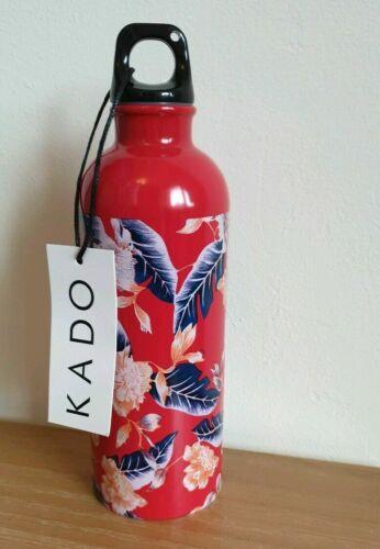 New Red ASOS Kado Metal Floral Water Bottle Gym Sports BNIB Palm Leaf Steel