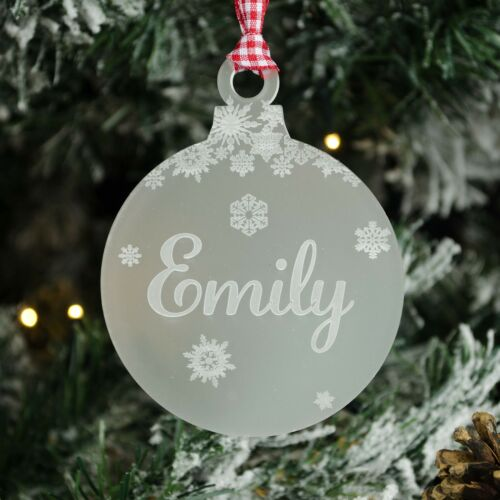 Child Baby Xmas Bauble Gift Personalised Name Christmas Tree Decoration Frost.