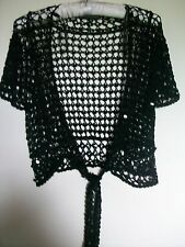 Warehouse Black Crochet Sequin Short Sleeve Bolero, Tie Wasit, Size 12,
