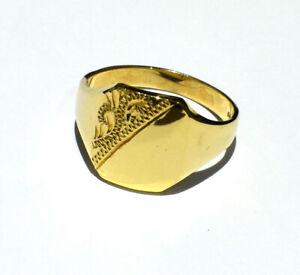 Herren-Gold-Ring-Massiv-Gold-Signet-Ring-Herren-Schmuck-Quarter-B-039-Ham