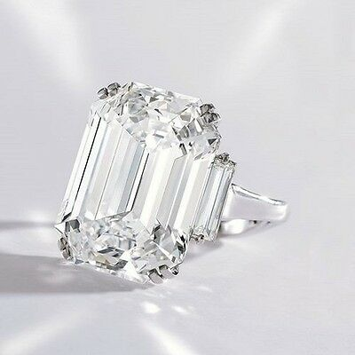 Stunning 2 30 Ct Emerald Cut Three Stone W Baguette Diamond Engagement Ring Ebay
