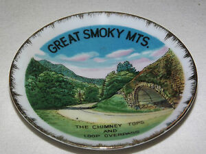 VINTAGE 1960-70S GREAT SMOKY MTS CHIMNEY TOPS LOOP OVERPASS MINI  SOUVENIR PLATE