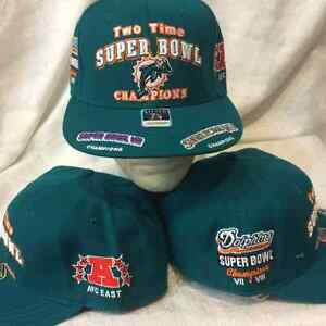 d29d7546e5f Miami Dolphins Fitted Hat Size 7-3 4 - NFL 2 Time Super Bowl Hat