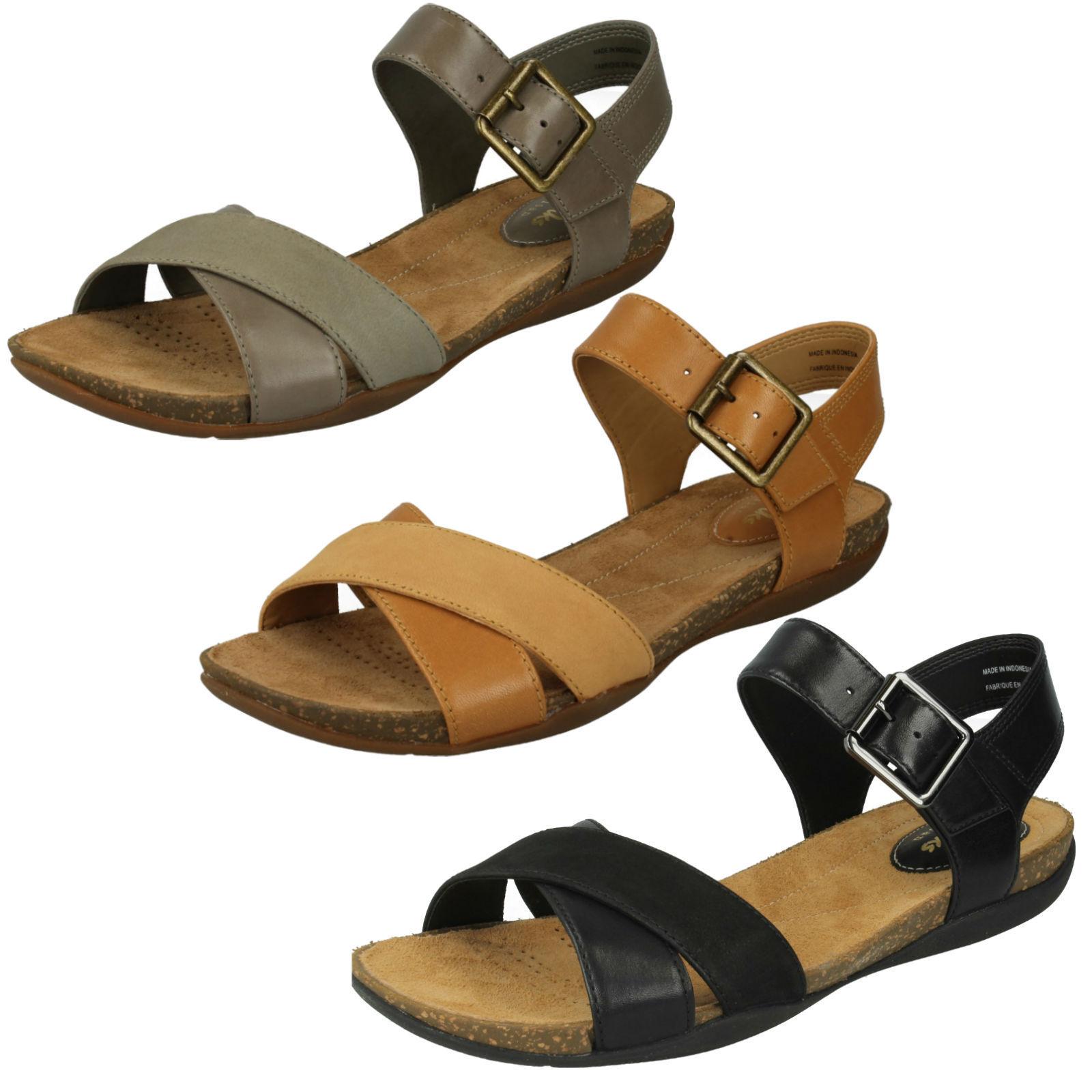 Damen Clarks Leder Schnalle Freizeit Riemen klassisch Sommer Sandale Herbst