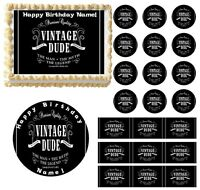 VINTAGE DUDE No Age Edible Cake Topper Image Frosting Sheet Cake Decoration NEW