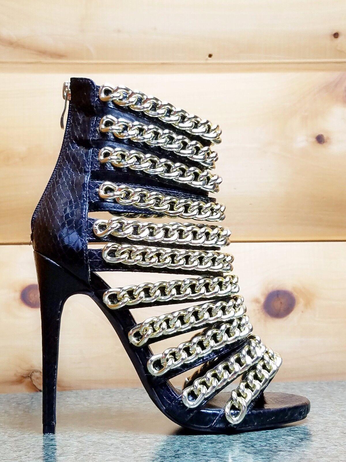 Nelly Bernal Bernal Bernal Black Snake Multi Chain Strap 4.5  High Heel Mini Platform shoes 9f10c0