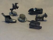 Six Vintage Monopoly Silver Pieces Shoe Hat Car Dog Cowboy Wheelbarrow Crafting