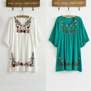 Vintage-70s-Ethnic-Floral-Embroidered-Peasant-Hippie-Mexican-Blouse-Dress-Tops