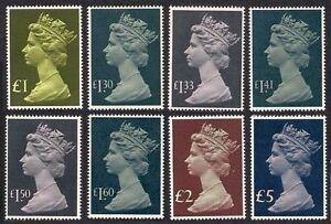 1977-87. SG1026-1028. Set x 8 High Value Machins. Superb unmounted mint.