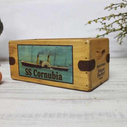 SS Cornubia Hayle and Bristol Steam Packet Vintage Wooden Crate Steam Ship Box