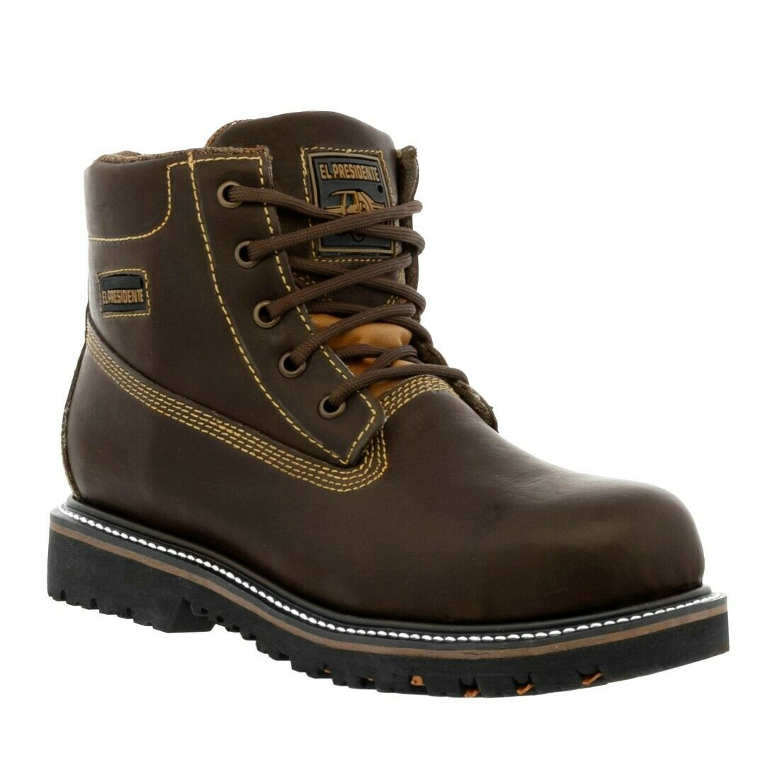 Mens Steel Toe Work Boots Brown Genuine Leather Lace Up Slip Resistant
