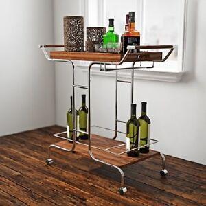 Modern Serving Bar Cart Removable Tray Metal Wood Glass Stemware Chrome Brown