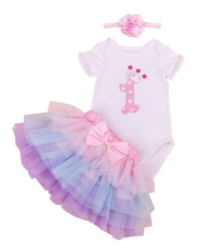 BabyPreg Baby Girls 1st Birthday Tutu with Headband Set Pink Purple
