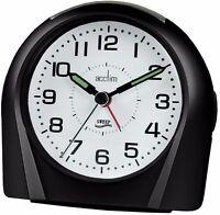 Acctim Europa Analogue Alarm Clock Non Ticking Silent Sweeper Black 14113 Sweep