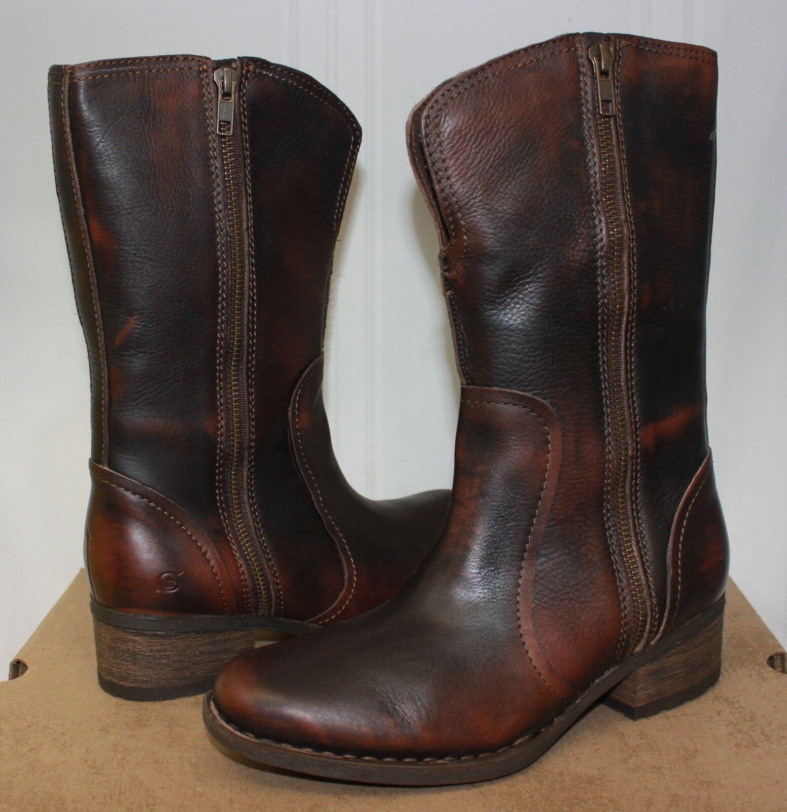Nacido Para Mujer botas De De De Cuero Marrón Oscuro Mosse Nueva con caja  alta calidad general