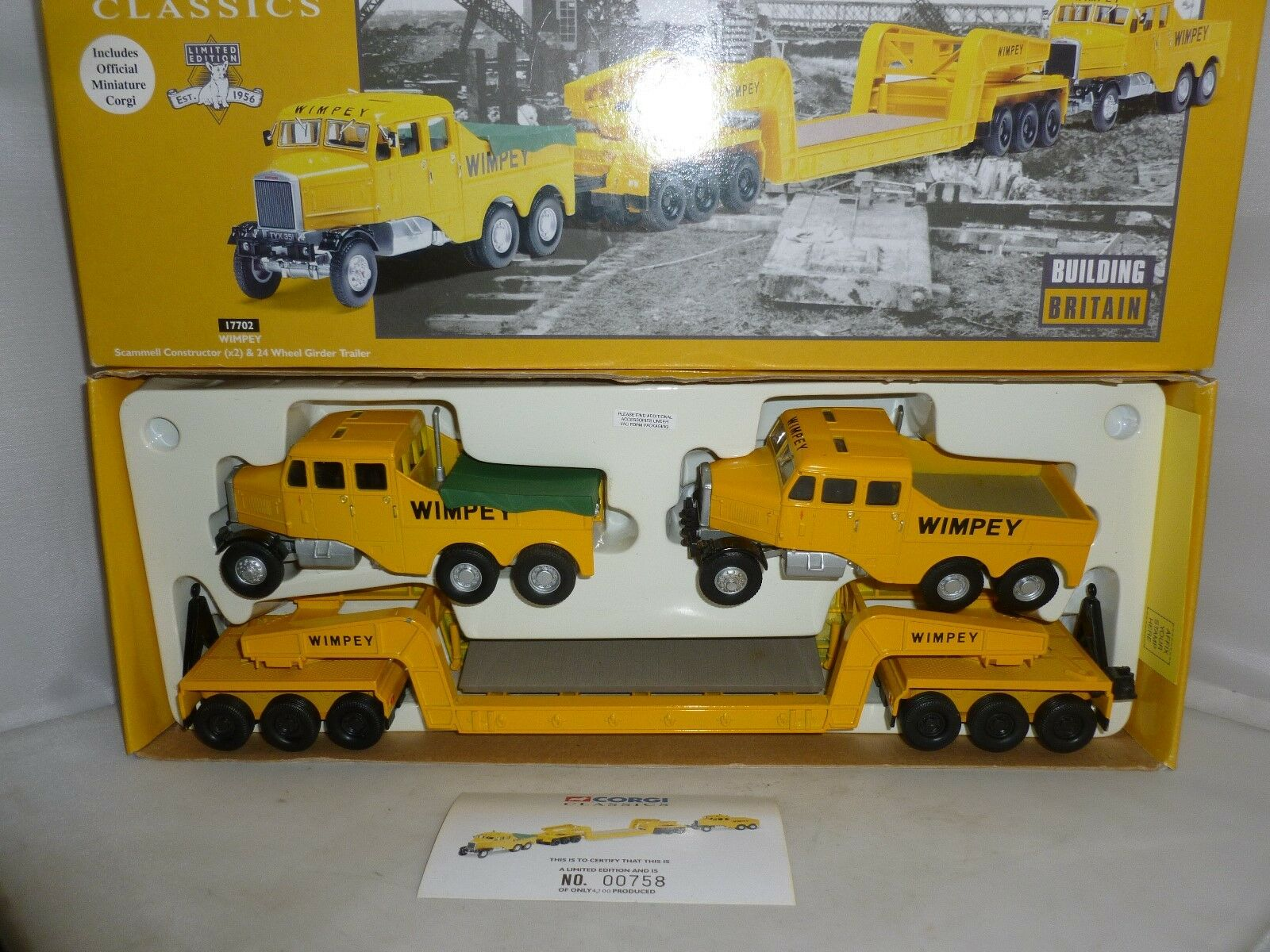 CORGI DIECAST CLASSICS 17702 WIMPEY SCAMMELL CONSTRUCTOR  X2 WITH TRAILER