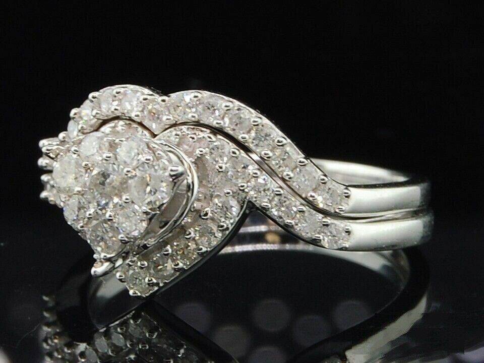 Diamond Wedding Bridal Sets Engagement Rings 925 Silver