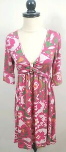 Lilly-Pulitzer-Silk-Dress-Multicolor-Floral-Print-Size-4
