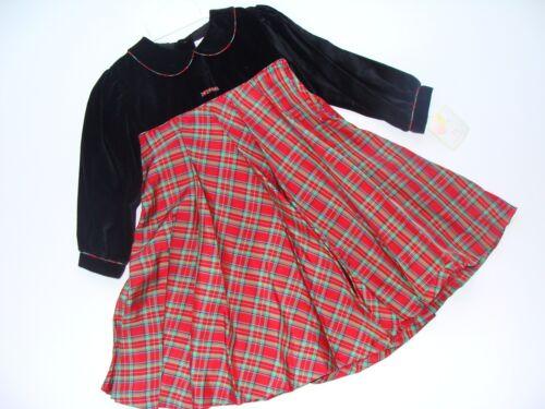 Petit ami Dress Baby Girls 24 Months Christmas Black Plaid Flowers NWT