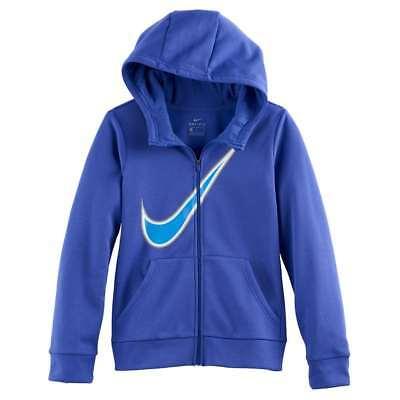 Nike Girls Hoodie Blue Therma Graphic Print Full Zip Hoodie NEW
