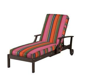 Sunbrella pink candy stripe outdoor chaise lounge for Blue and white striped chaise lounge cushions
