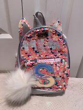 E Justice Girls Sherpa Kitty Initial Mini Backpack