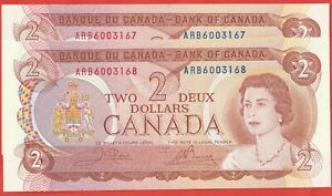 1974-Bank-Of-Canada-2-Dollar-Consecutive-Notes-Bouey-Crow-UNC