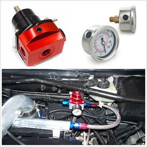 1-160-PSI-de-presion-de-combustible-Ajustable-Regulador-Kit-con-Indicador-Rojo-Universal