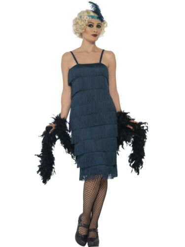 Long Teal Flapper Costume Ladies 1920s Fancy Dress Outfit 20s Flapper S-XXL