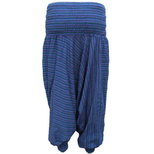 Womens Harem Trousers Pants Striped Ali Baba Baggy Hippie Boho Yoga wide leg