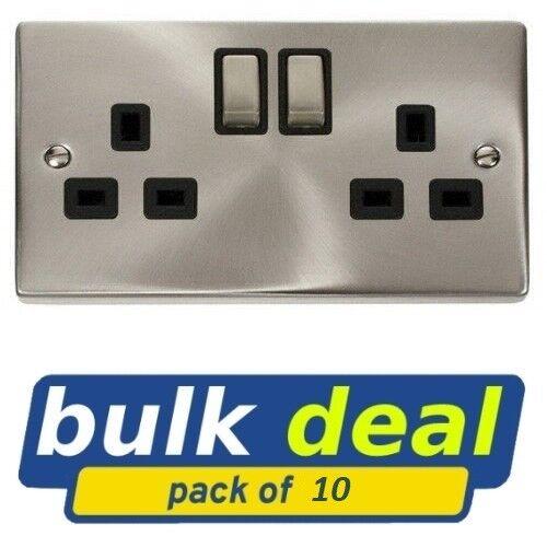 Box of 10 Click Deco 13 amp Double Plug Socket in Satin Chrome Black VPSC536BK