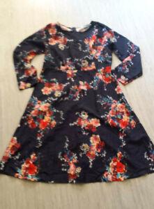 Kleid blau bunte Blumen leicht Sommer langarm 44 46 L | eBay