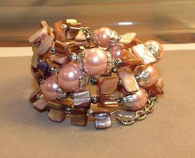 Glass Pearl Shell Coil Bracelet Seed Bead cuff bangle Handmade Indonesian