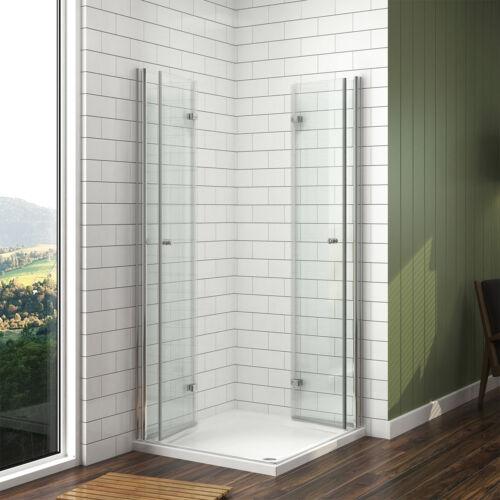 Duschkabine Falttür 80x90x185 Duschabtrennung ESG Glas Eckeinstieg Duschwand
