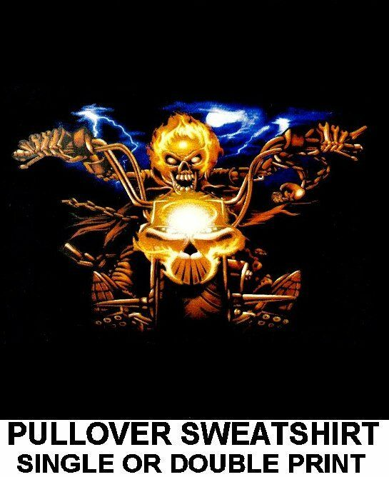 FLAMING GHOST SKULL MOTORCYCLE RIDER BIKER V-TWIN ENGINE CHOPPER SWEATSHIRT XT15