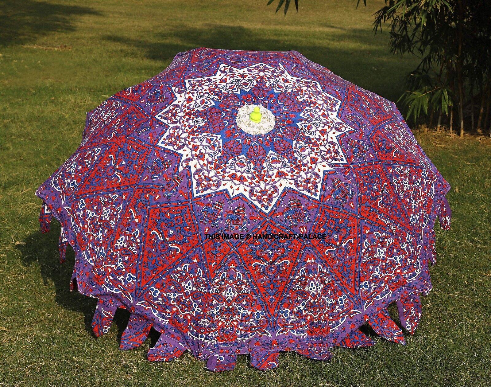 Indian Garden Parasol Star Mandala Outdoor Sun Shade Cotton Patio Party Umbrella